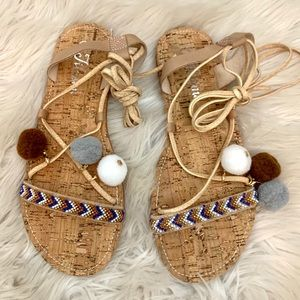 Shoes - Lace up Pom Pom sandals